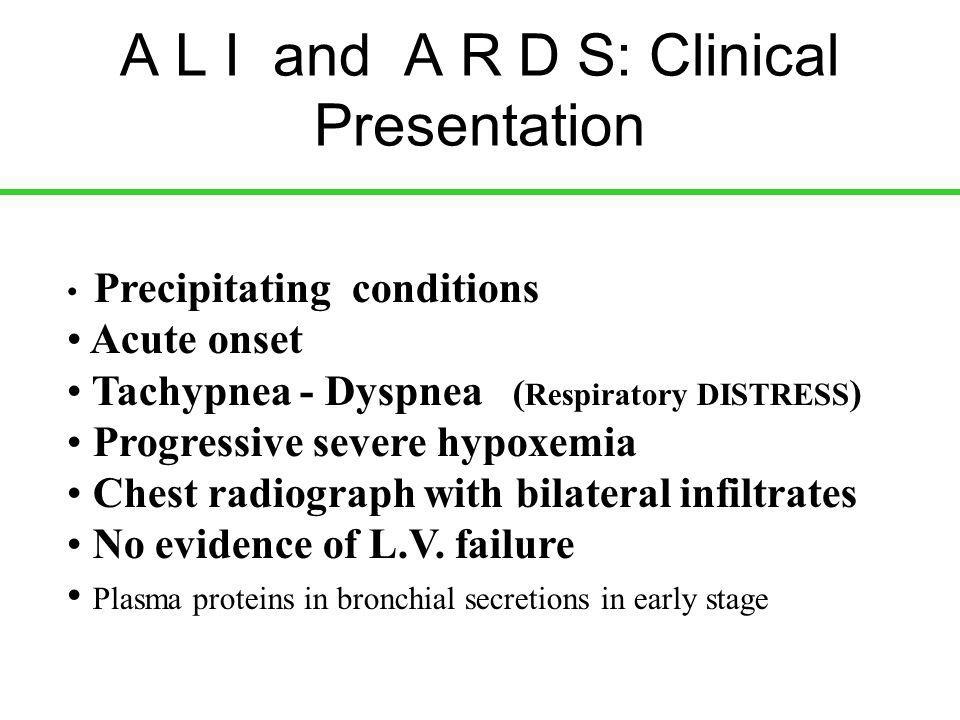 Secondary ARDS: effect of PEEP PEEP = 5 PEEP = 15