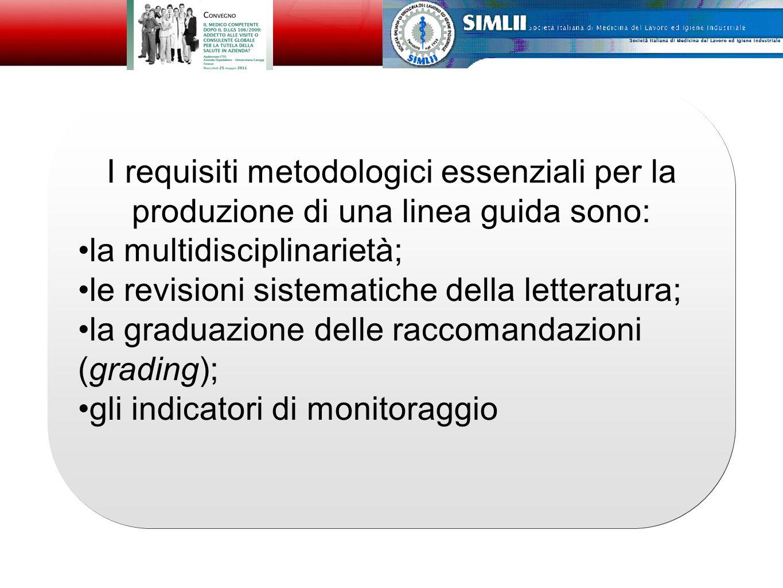 I requisiti metodologici essenziali per la produzione di una linea guida sono: la multidisciplinarietà; le revisioni sistematiche della letteratura; la graduazione delle raccomandazioni (grading); gli indicatori di monitoraggio I requisiti metodologici essenziali per la produzione di una linea guida sono: la multidisciplinarietà; le revisioni sistematiche della letteratura; la graduazione delle raccomandazioni (grading); gli indicatori di monitoraggio Alfonso Cristaudo
