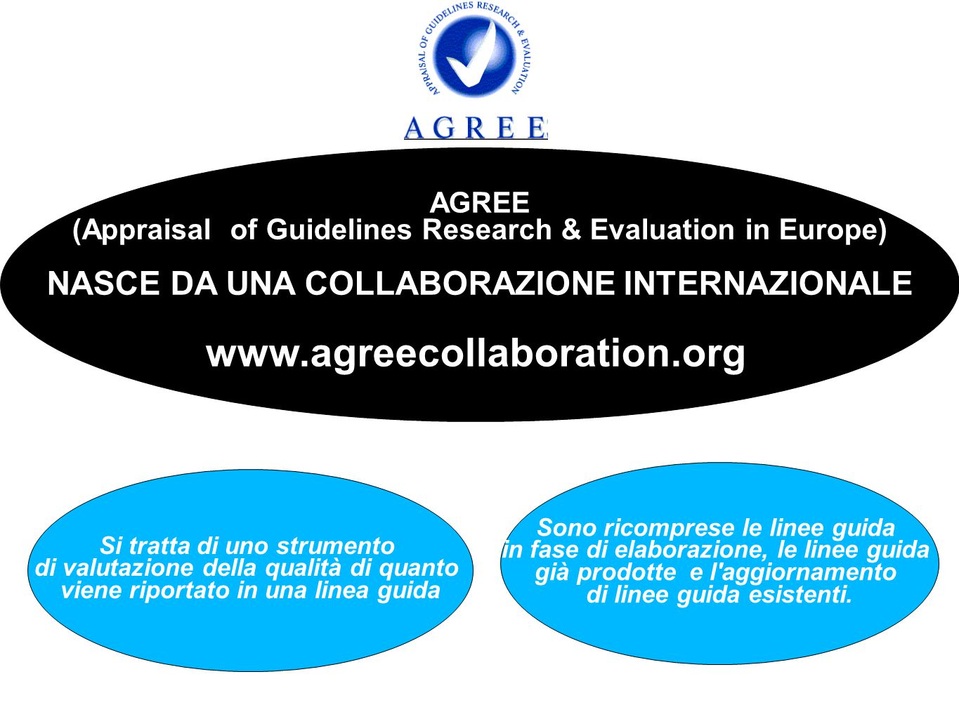 AGREE (Appraisal of Guidelines Research & Evaluation in Europe) NASCE DA UNA COLLABORAZIONE INTERNAZIONALE /www.agreecollaboration.org/ Sono ricompres