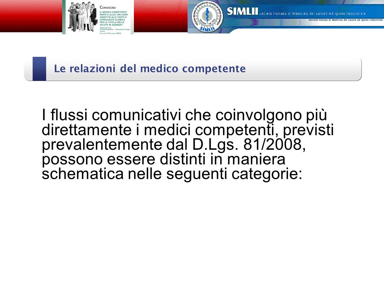 Le relazioni del medico competente Alfonso Cristaudo I flussi comunicativi che coinvolgono più direttamente i medici competenti, previsti prevalentemente dal D.Lgs.