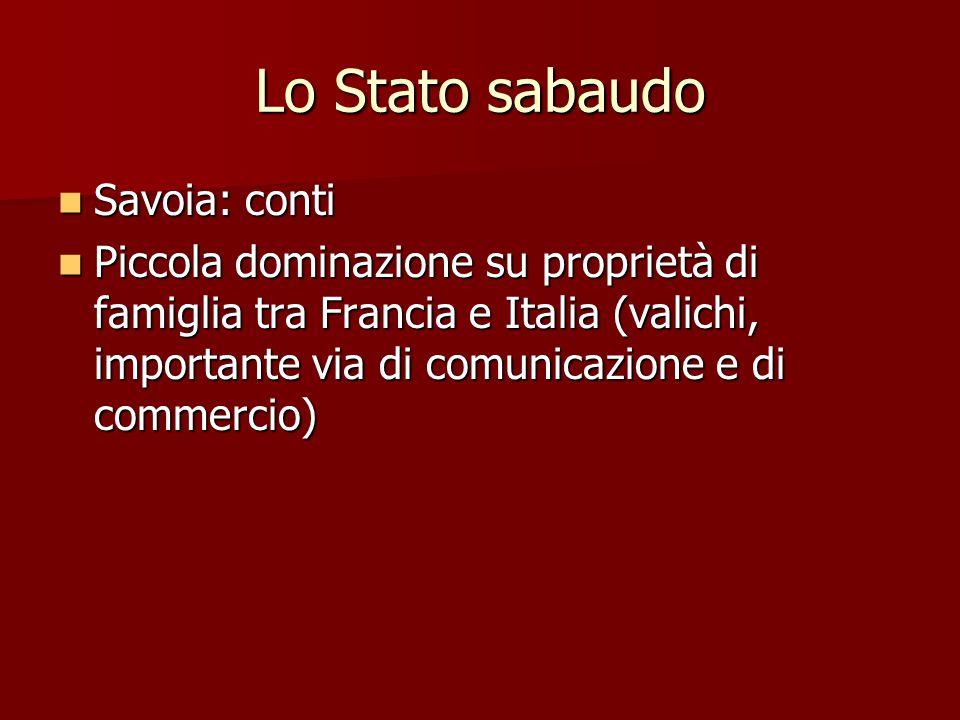 Lo Stato sabaudo Savoia: conti Savoia: conti Piccola dominazione su proprietà di famiglia tra Francia e Italia (valichi, importante via di comunicazio