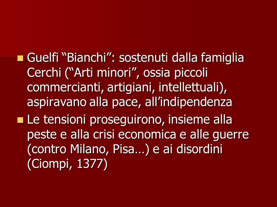 """Guelfi """"Bianchi"""": sostenuti dalla famiglia Cerchi (""""Arti minori"""", ossia piccoli commercianti, artigiani, intellettuali), aspiravano alla pace, all'ind"""
