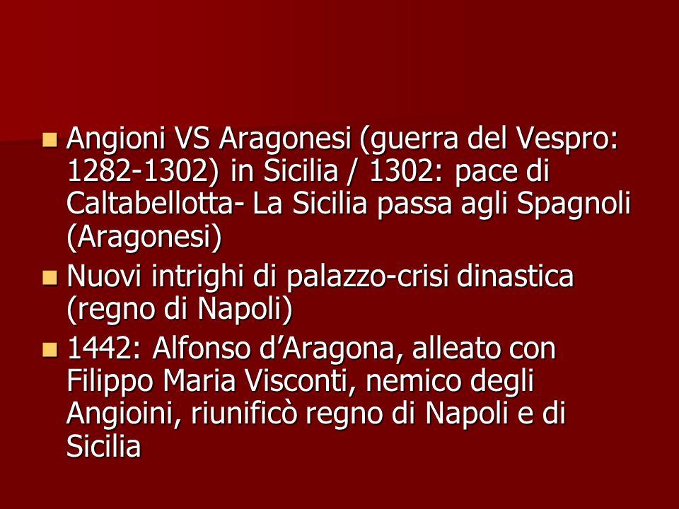Angioni VS Aragonesi (guerra del Vespro: 1282-1302) in Sicilia / 1302: pace di Caltabellotta- La Sicilia passa agli Spagnoli (Aragonesi) Angioni VS Ar