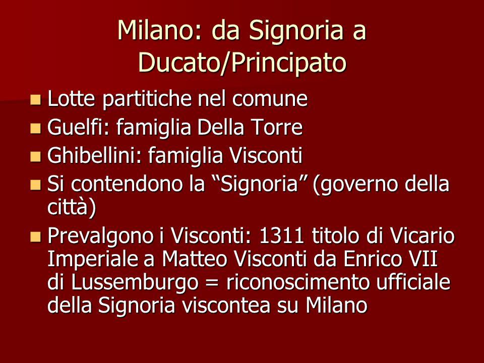Milano: da Signoria a Ducato/Principato Lotte partitiche nel comune Lotte partitiche nel comune Guelfi: famiglia Della Torre Guelfi: famiglia Della To