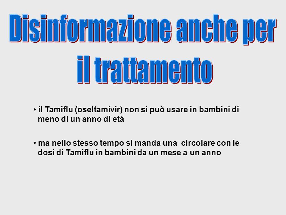 il Tamiflu (oseltamivir) non si può usare in bambini di meno di un anno di età ma nello stesso tempo si manda una circolare con le dosi di Tamiflu in bambini da un mese a un anno
