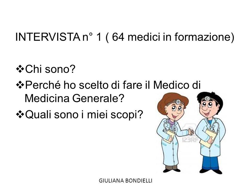 INTERVISTA n° 1 ( 64 medici in formazione)  Chi sono.
