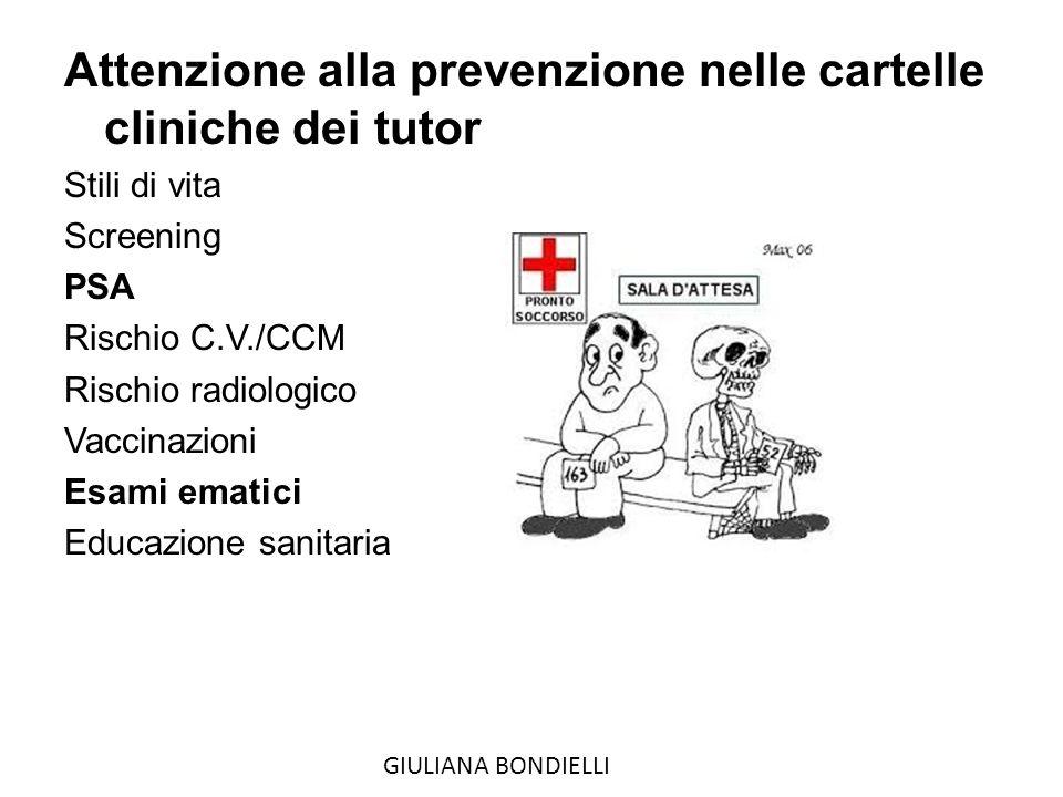 Attenzione alla prevenzione nelle cartelle cliniche dei tutor Stili di vita Screening PSA Rischio C.V./CCM Rischio radiologico Vaccinazioni Esami ematici Educazione sanitaria GIULIANA BONDIELLI