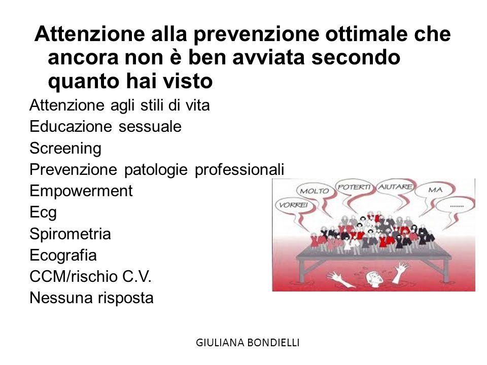 Attenzione alla prevenzione ottimale che ancora non è ben avviata secondo quanto hai visto Attenzione agli stili di vita Educazione sessuale Screening Prevenzione patologie professionali Empowerment Ecg Spirometria Ecografia CCM/rischio C.V.