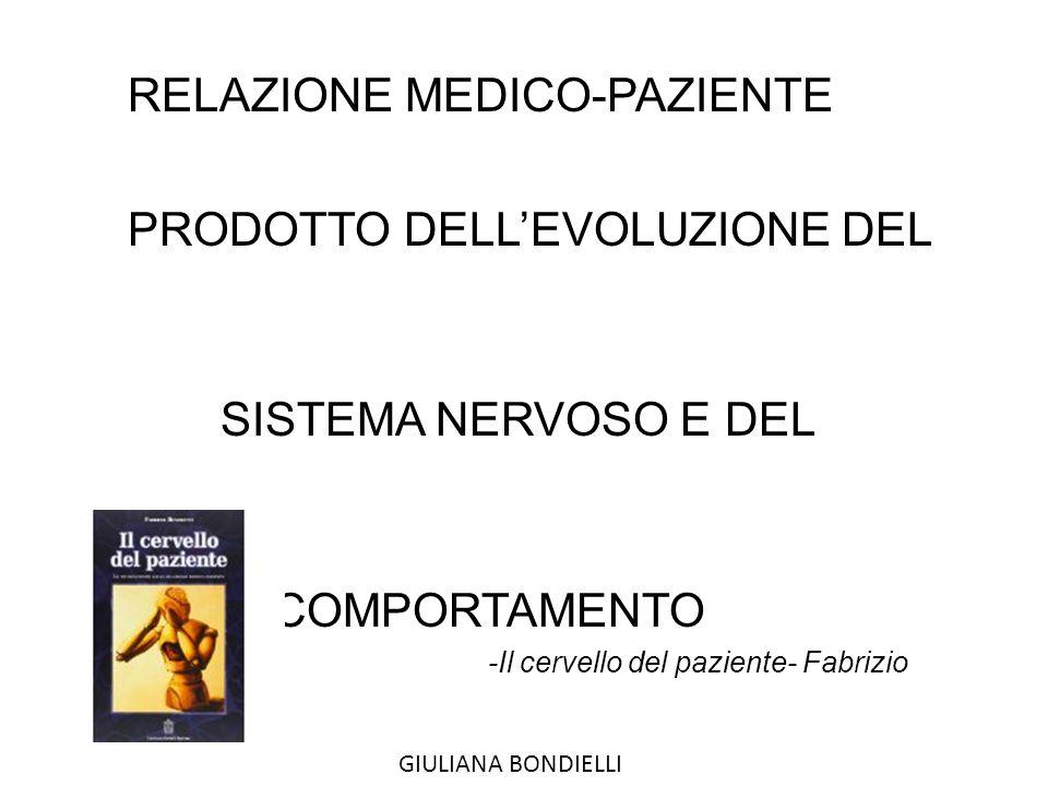 RELAZIONE MEDICO-PAZIENTE PRODOTTO DELL'EVOLUZIONE DEL SISTEMA NERVOSO E DEL COMPORTAMENTO -Il cervello del paziente- Fabrizio Benedetti GIULIANA BONDIELLI