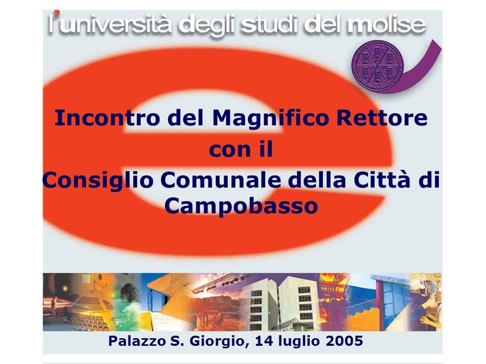 1 Incontro del Magnifico Rettore con il Consiglio Comunale della Città di Campobasso Palazzo S. Giorgio, 14 luglio 2005