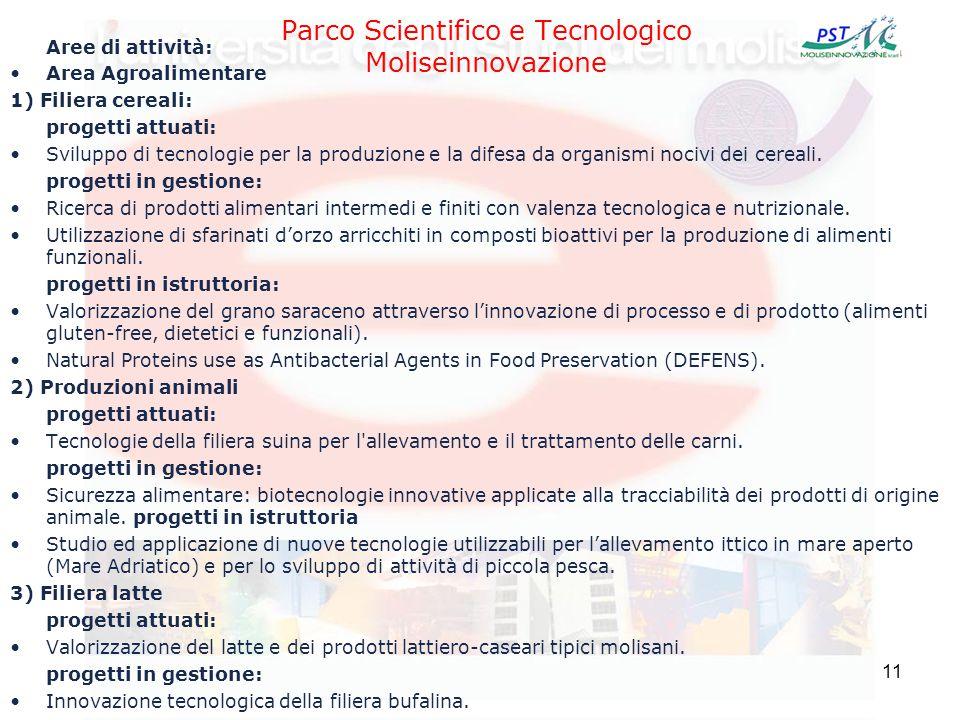 11 Parco Scientifico e Tecnologico Moliseinnovazione Aree di attività: Area Agroalimentare 1) Filiera cereali: progetti attuati: Sviluppo di tecnologi