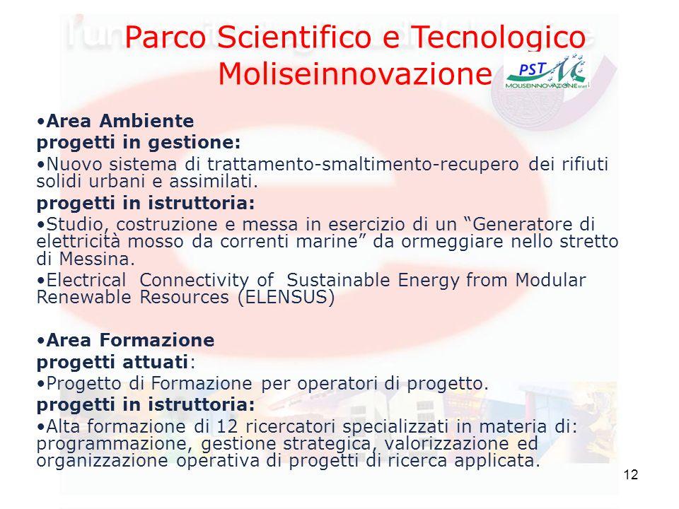 12 Parco Scientifico e Tecnologico Moliseinnovazione Area Ambiente progetti in gestione: Nuovo sistema di trattamento-smaltimento-recupero dei rifiuti solidi urbani e assimilati.