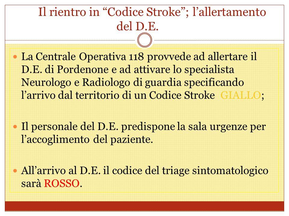 """Il rientro in """"Codice Stroke""""; l'allertamento del D.E. La Centrale Operativa 118 provvede ad allertare il D.E. di Pordenone e ad attivare lo specialis"""
