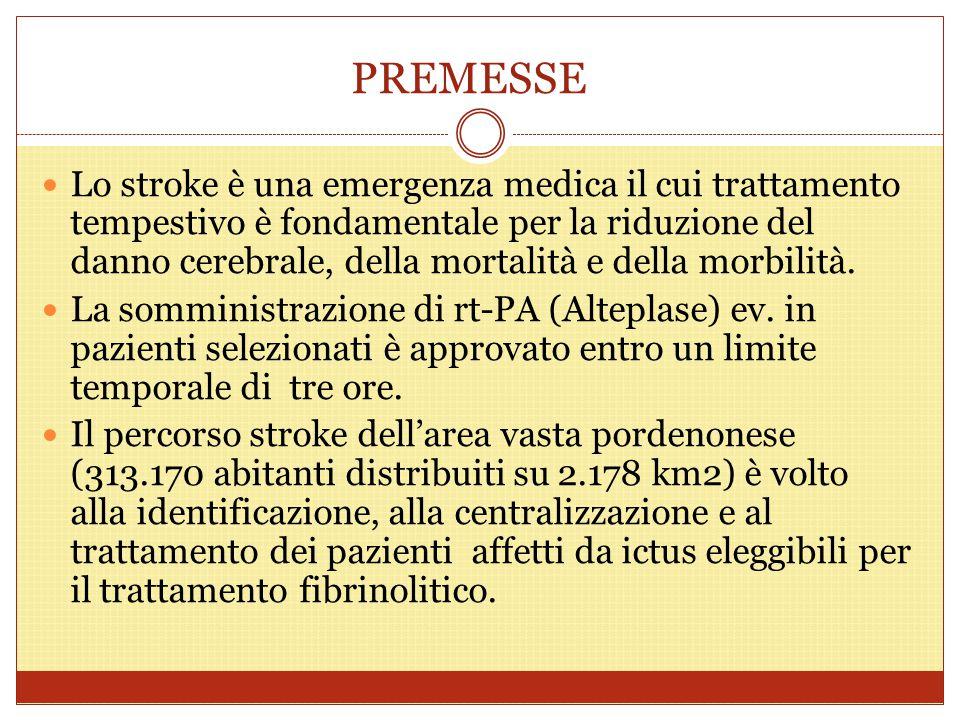 PREMESSE Lo stroke è una emergenza medica il cui trattamento tempestivo è fondamentale per la riduzione del danno cerebrale, della mortalità e della m