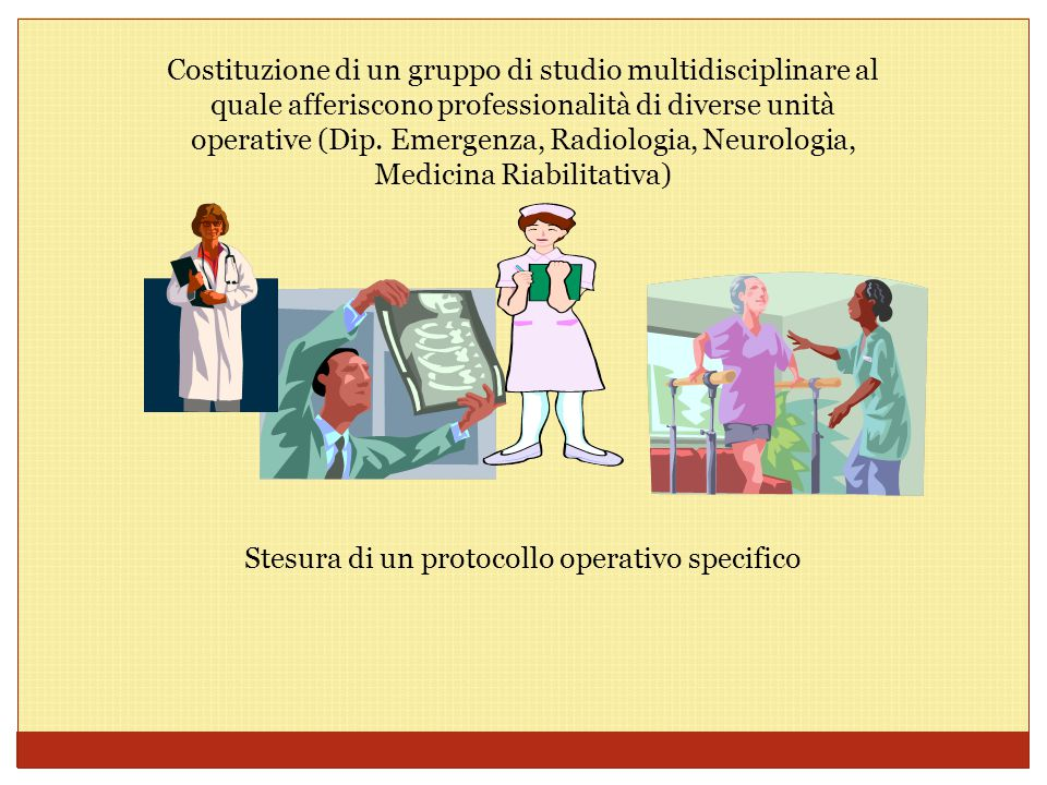 Costituzione di un gruppo di studio multidisciplinare al quale afferiscono professionalità di diverse unità operative (Dip. Emergenza, Radiologia, Neu