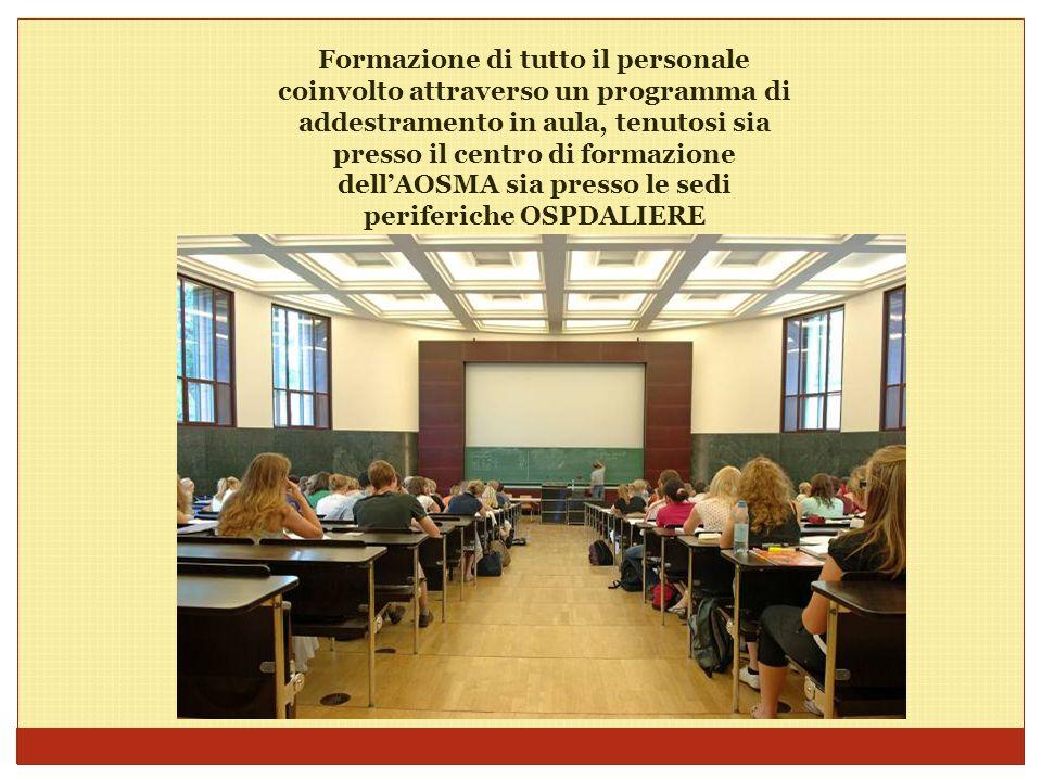 Formazione di tutto il personale coinvolto attraverso un programma di addestramento in aula, tenutosi sia presso il centro di formazione dell'AOSMA si