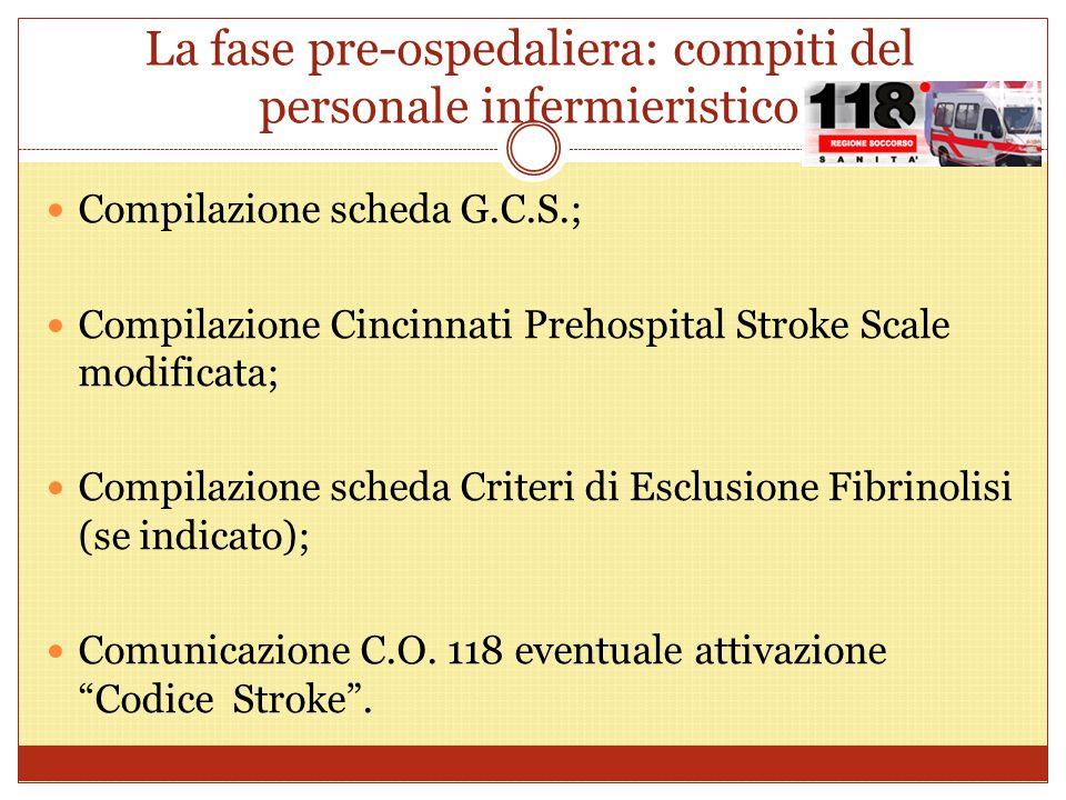 La fase pre-ospedaliera: compiti del personale infermieristico Compilazione scheda G.C.S.; Compilazione Cincinnati Prehospital Stroke Scale modificata