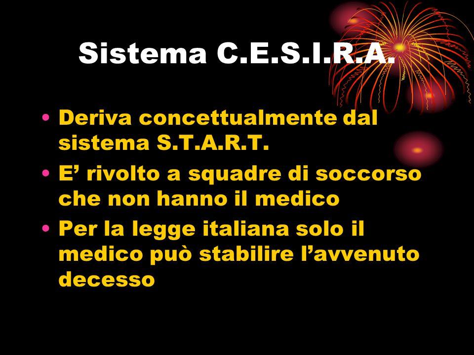 Sistema C.E.S.I.R.A. Deriva concettualmente dal sistema S.T.A.R.T. E' rivolto a squadre di soccorso che non hanno il medico Per la legge italiana solo