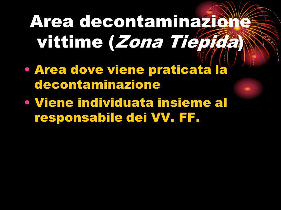 Area decontaminazione vittime (Zona Tiepida) Area dove viene praticata la decontaminazione Viene individuata insieme al responsabile dei VV. FF.