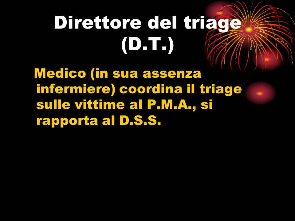 Direttore del triage (D.T.) Medico (in sua assenza infermiere) coordina il triage sulle vittime al P.M.A., si rapporta al D.S.S.