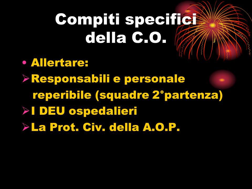 Compiti specifici della C.O. Allertare:  Responsabili e personale reperibile (squadre 2°partenza)  I DEU ospedalieri  La Prot. Civ. della A.O.P.