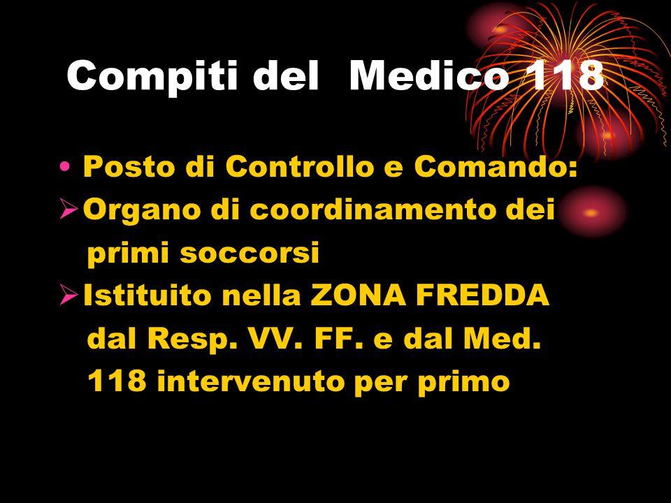 Compiti del Medico 118 Posto di Controllo e Comando:  Organo di coordinamento dei primi soccorsi  Istituito nella ZONA FREDDA dal Resp. VV. FF. e da