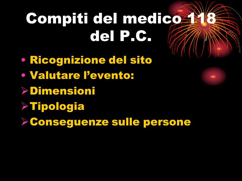Compiti del medico 118 del P.C. Ricognizione del sito Valutare l'evento:  Dimensioni  Tipologia  Conseguenze sulle persone
