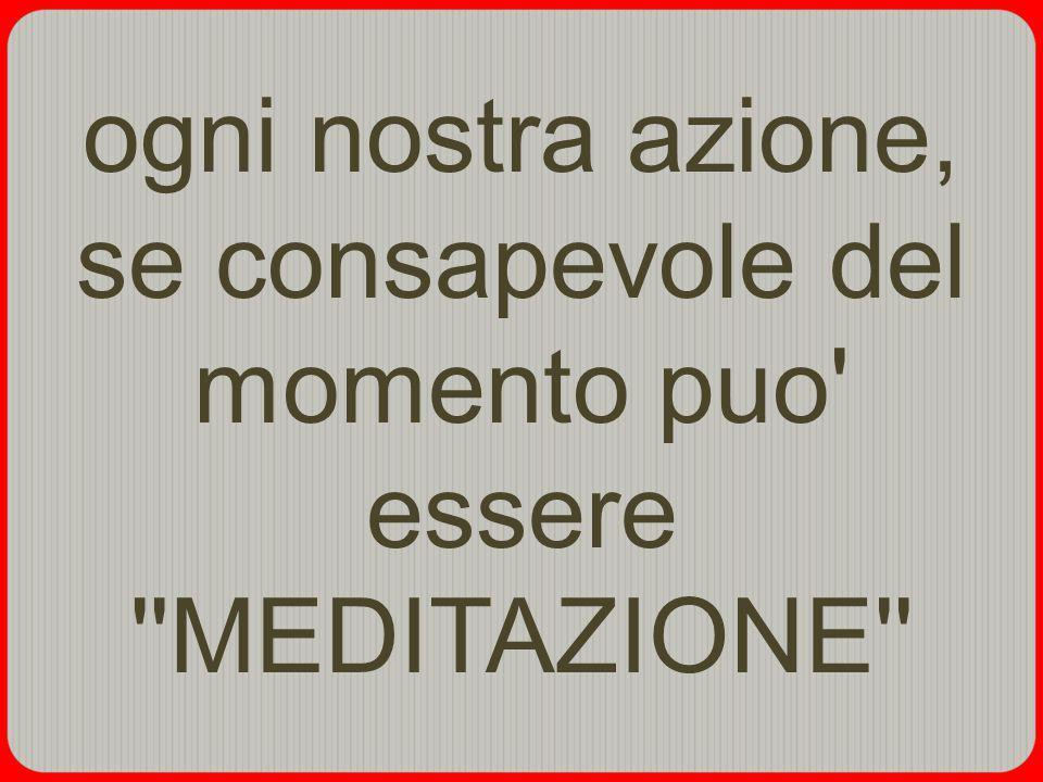 ogni nostra azione, se consapevole del momento puo essere MEDITAZIONE