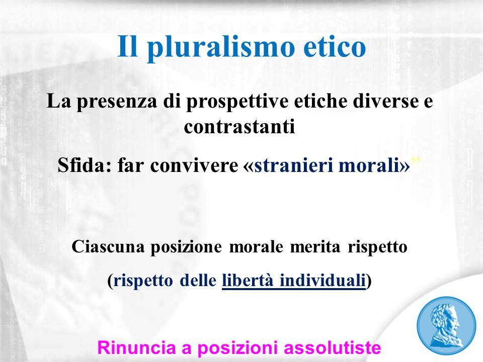 """Il pluralismo etico La presenza di prospettive etiche diverse e contrastanti Sfida: far convivere «stranieri morali»"""" Ciascuna posizione morale merita"""