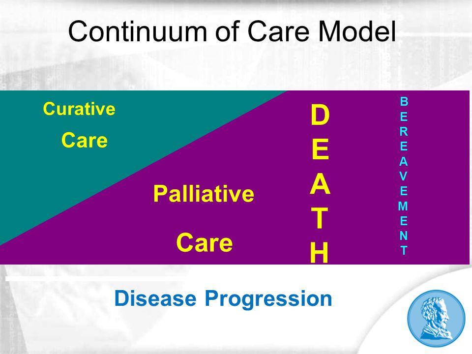 Continuum of Care Model D E A T H B E R E A V E M E N T Curative Intent Palliative Care Curative Care Disease Progression
