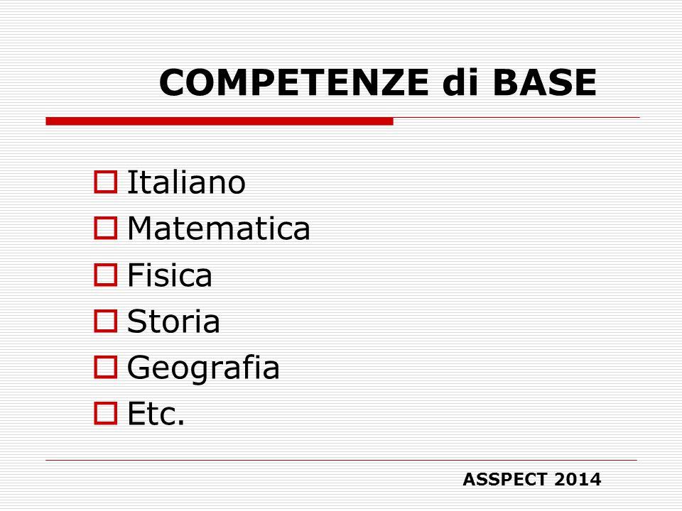COMPETENZE di BASE  Italiano  Matematica  Fisica  Storia  Geografia  Etc. ASSPECT 2014