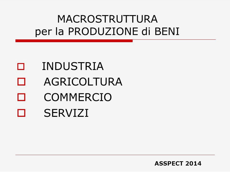 MACROSTRUTTURA per la PRODUZIONE di BENI  INDUSTRIA  AGRICOLTURA  COMMERCIO  SERVIZI ASSPECT 2014