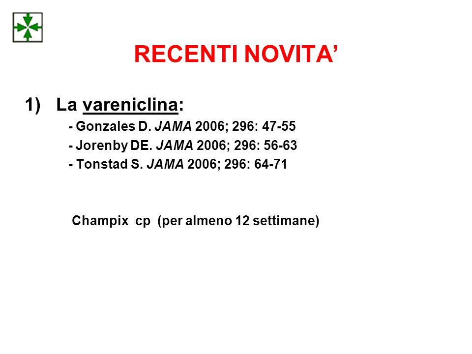 RECENTI NOVITA' 1)La vareniclina: - Gonzales D.JAMA 2006; 296: 47-55 - Jorenby DE.