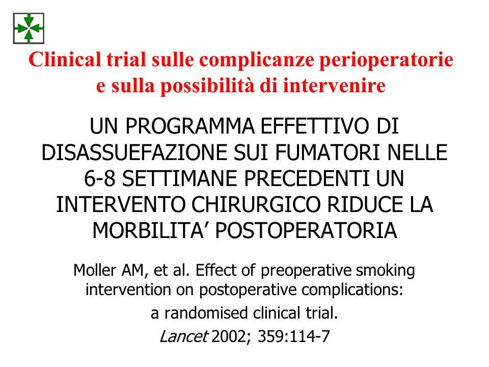 UN PROGRAMMA EFFETTIVO DI DISASSUEFAZIONE SUI FUMATORI NELLE 6-8 SETTIMANE PRECEDENTI UN INTERVENTO CHIRURGICO RIDUCE LA MORBILITA' POSTOPERATORIA Moller AM, et al.