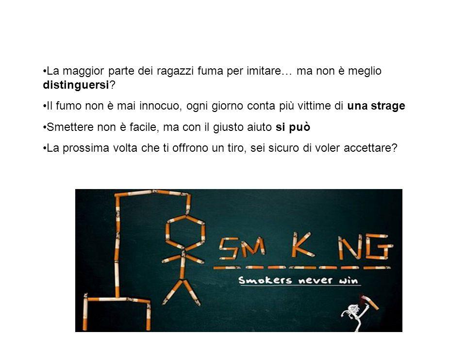 Concludendo … La maggior parte dei ragazzi fuma per imitare… ma non è meglio distinguersi.