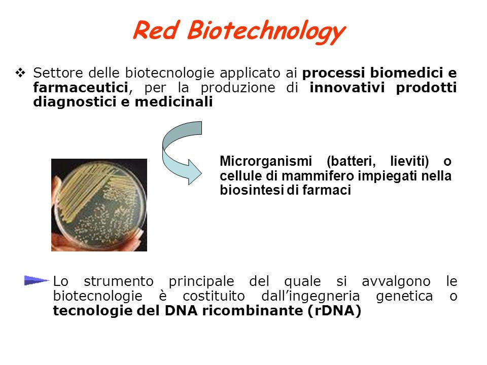 Red Biotechnology  Settore delle biotecnologie applicato ai processi biomedici e farmaceutici, per la produzione di innovativi prodotti diagnostici e