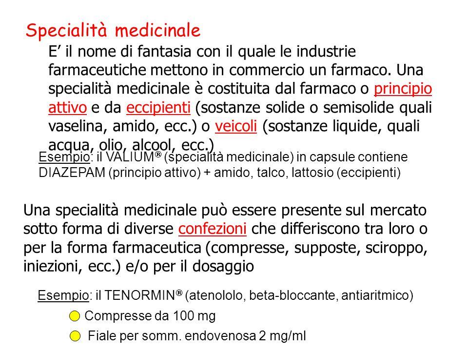 Specialità medicinale E' il nome di fantasia con il quale le industrie farmaceutiche mettono in commercio un farmaco. Una specialità medicinale è cost
