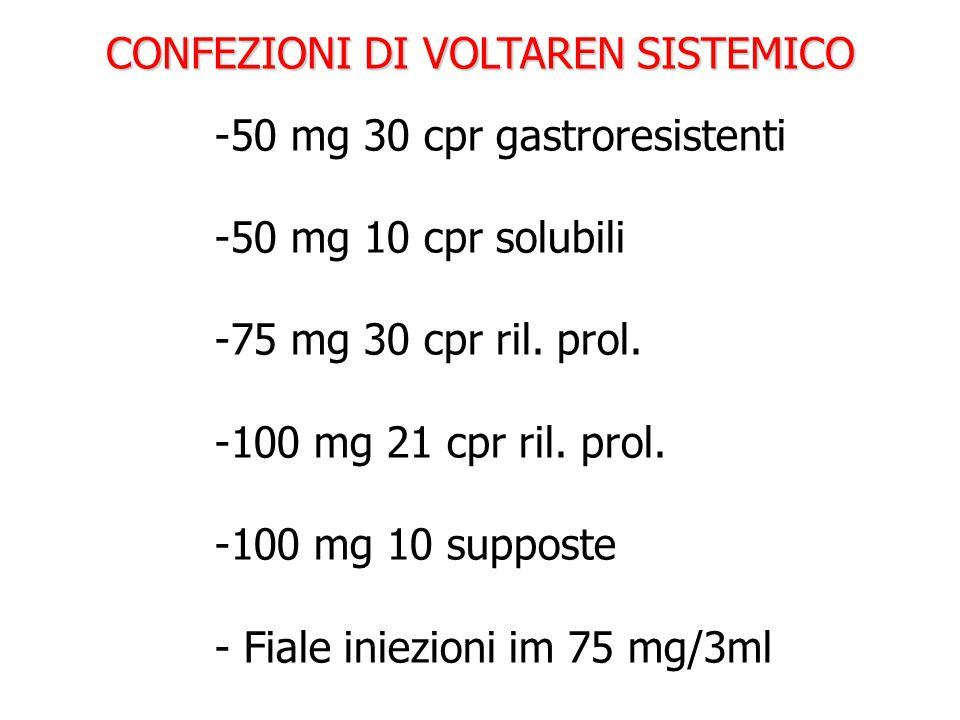 CONFEZIONI DI VOLTAREN SISTEMICO -50 mg 30 cpr gastroresistenti -50 mg 10 cpr solubili -75 mg 30 cpr ril. prol. -100 mg 21 cpr ril. prol. -100 mg 10 s