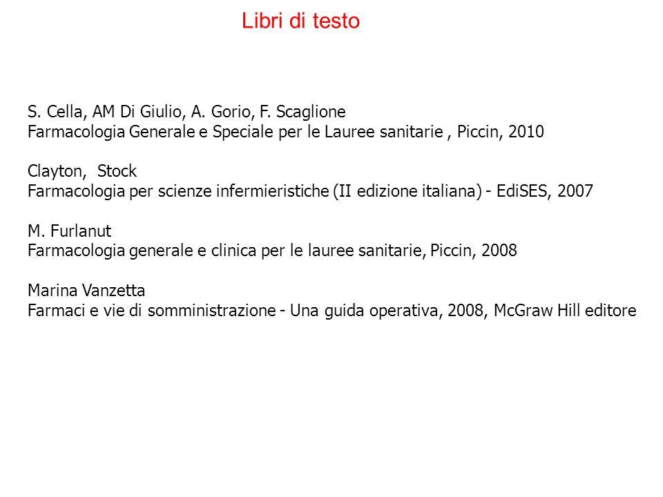S. Cella, AM Di Giulio, A. Gorio, F. Scaglione Farmacologia Generale e Speciale per le Lauree sanitarie, Piccin, 2010 Clayton, Stock Farmacologia per