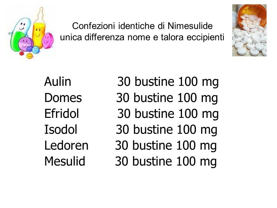 Aulin 30 bustine 100 mg Domes 30 bustine 100 mg Efridol 30 bustine 100 mg Isodol 30 bustine 100 mg Ledoren 30 bustine 100 mg Mesulid 30 bustine 100 mg
