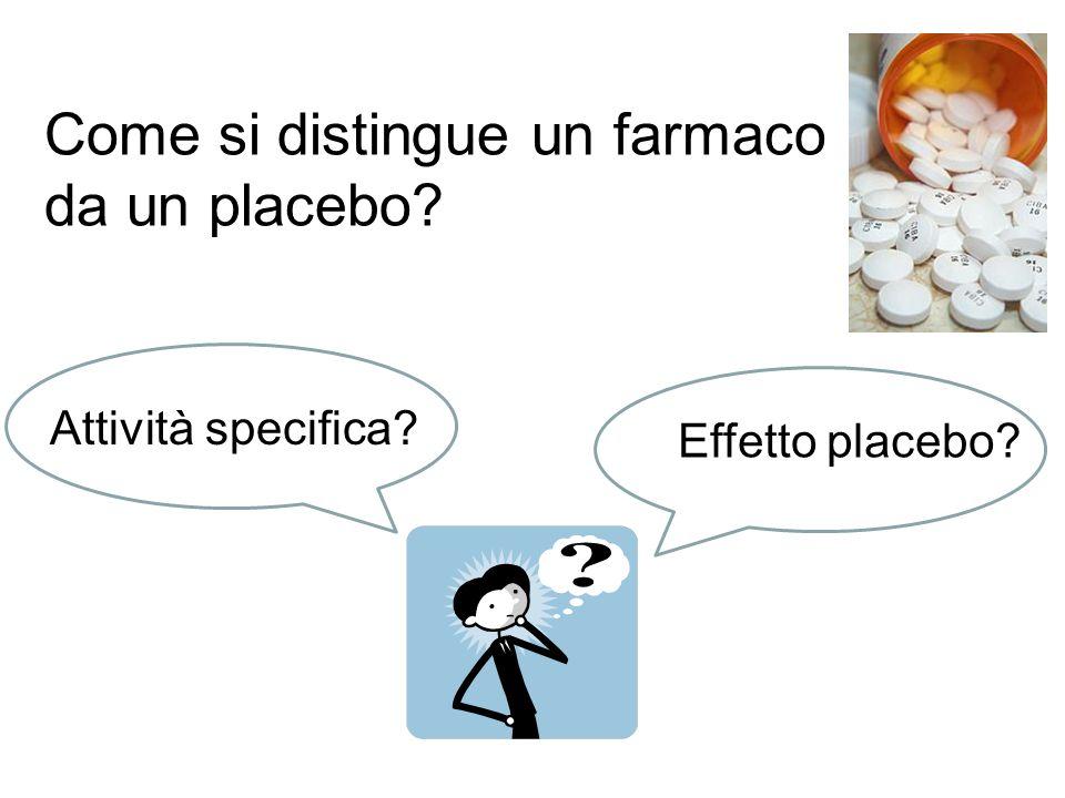 Come si distingue un farmaco da un placebo? Attività specifica? Effetto placebo?