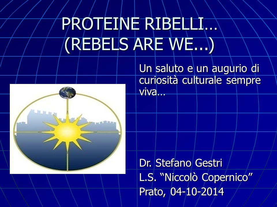 """PROTEINE RIBELLI… (REBELS ARE WE...) Un saluto e un augurio di curiosità culturale sempre viva… Dr. Stefano Gestri L.S. """"Niccolò Copernico"""" Prato, 04-"""