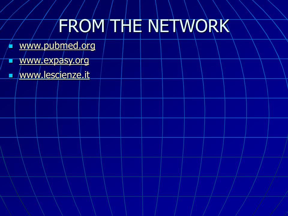 FROM THE NETWORK www.pubmed.org www.pubmed.org www.pubmed.org www.expasy.org www.expasy.org www.expasy.org www.lescienze.it www.lescienze.it www.lesci