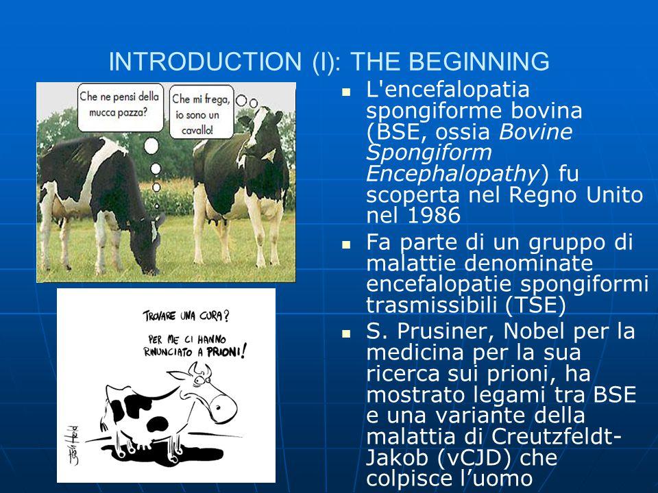 INTRODUCTION (I): THE BEGINNING L'encefalopatia spongiforme bovina (BSE, ossia Bovine Spongiform Encephalopathy) fu scoperta nel Regno Unito nel 1986