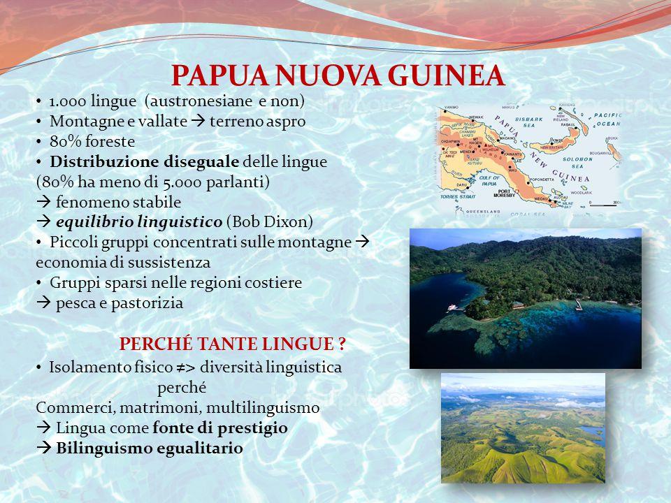PAPUA NUOVA GUINEA 1.000 lingue (austronesiane e non) Montagne e vallate  terreno aspro 80% foreste Distribuzione diseguale delle lingue (80% ha meno