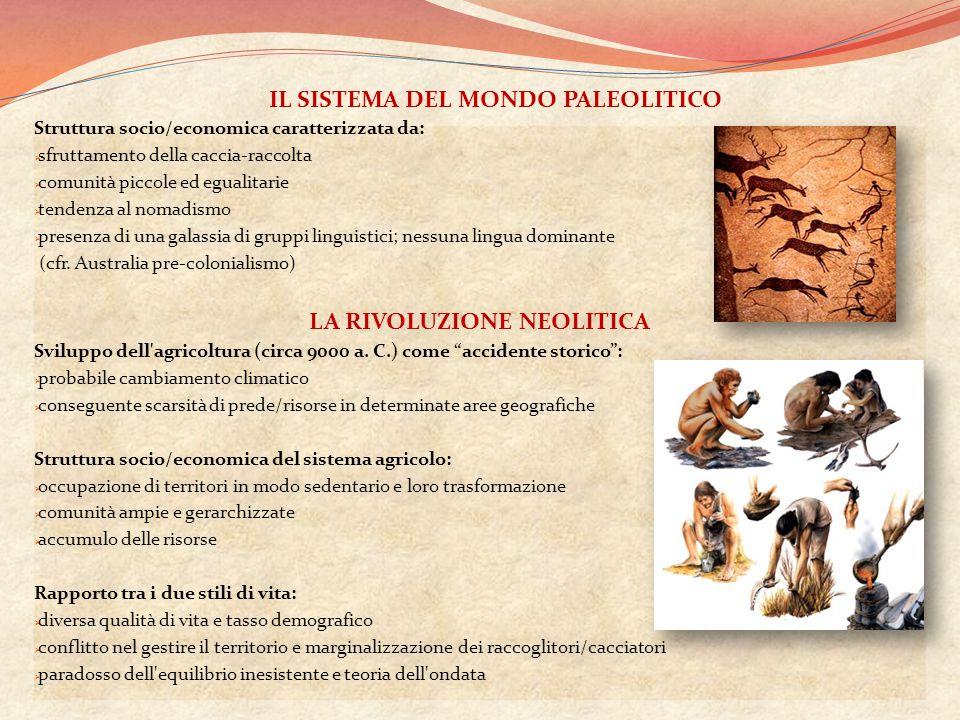 Struttura socio/economica caratterizzata da:  sfruttamento della caccia-raccolta  comunità piccole ed egualitarie  tendenza al nomadismo  presenza