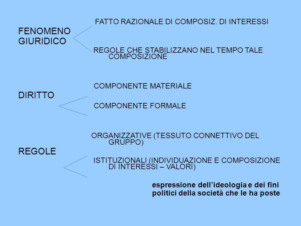 FATTO RAZIONALE DI COMPOSIZ. DI INTERESSI FENOMENO GIURIDICO REGOLE CHE STABILIZZANO NEL TEMPO TALE COMPOSIZIONE COMPONENTE MATERIALE DIRITTO COMPONEN