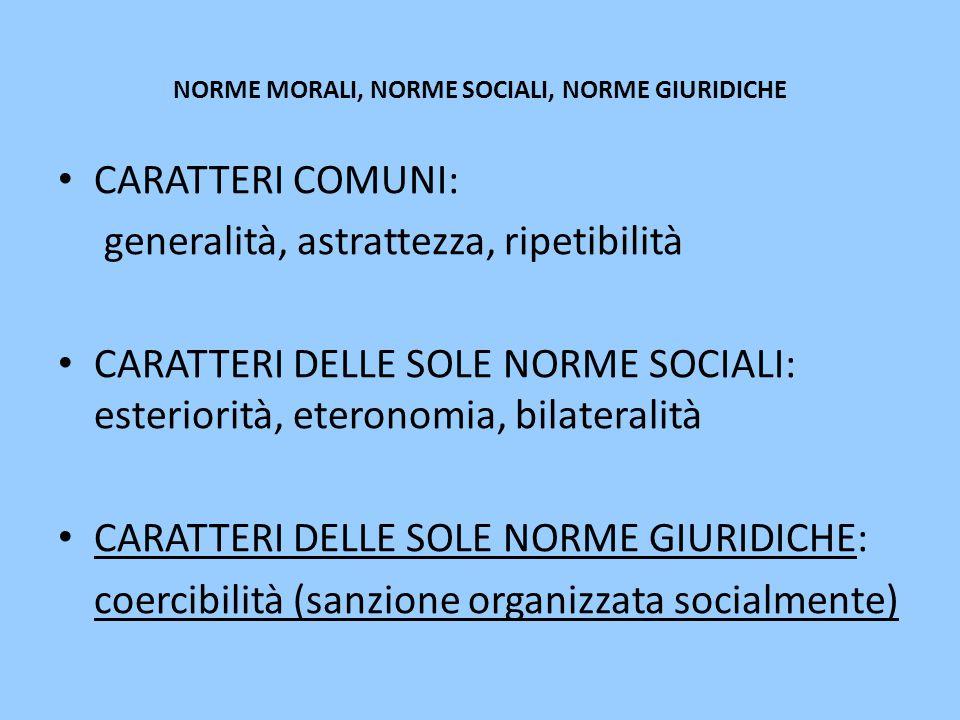 NORME MORALI, NORME SOCIALI, NORME GIURIDICHE CARATTERI COMUNI: generalità, astrattezza, ripetibilità CARATTERI DELLE SOLE NORME SOCIALI: esteriorità,