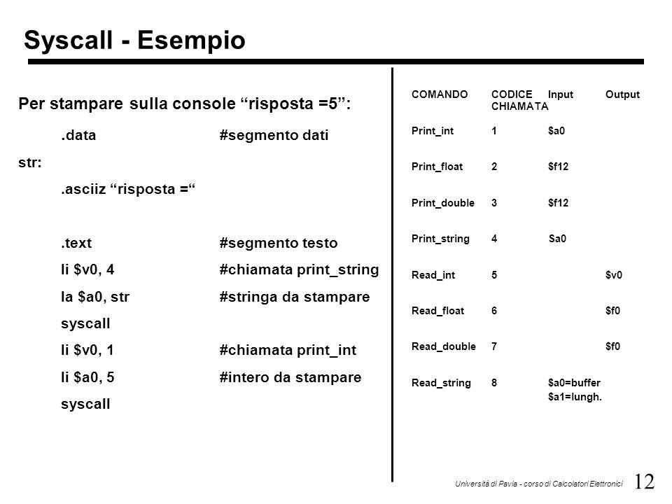 """12 Università di Pavia - corso di Calcolatori Elettronici Syscall - Esempio Per stampare sulla console """"risposta =5"""":. data#segmento dati str:.asciiz"""