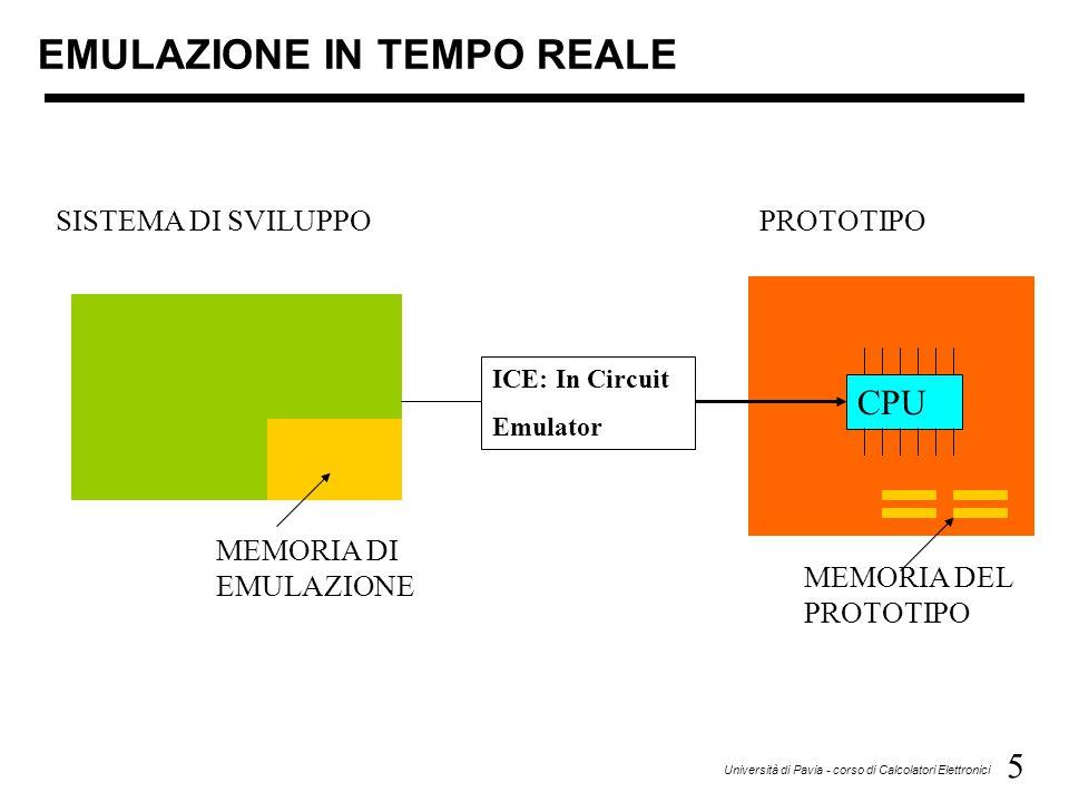 5 Università di Pavia - corso di Calcolatori Elettronici EMULAZIONE IN TEMPO REALE SISTEMA DI SVILUPPO MEMORIA DI EMULAZIONE ICE: In Circuit Emulator